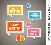 retro paper tags with happy... | Shutterstock .eps vector #169185614