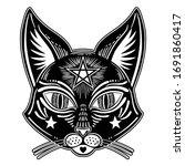 occult black cat head....   Shutterstock .eps vector #1691860417