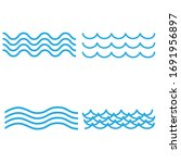blue wave vector icons set on... | Shutterstock .eps vector #1691956897