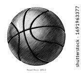 basketball hand draw vinatge... | Shutterstock .eps vector #1691963377