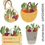 set of basket  shopping bag ... | Shutterstock .eps vector #1692048544