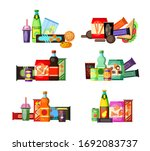 unhealthy food and drinks set....   Shutterstock . vector #1692083737