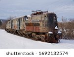 Rusty Old Train Locomotive In...