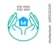 hand holding house protect...   Shutterstock .eps vector #1692151234