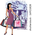 fashion lady with shopping bags | Shutterstock .eps vector #16921828