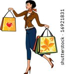 lady with shopping bags | Shutterstock .eps vector #16921831