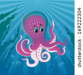 pink octopus deep blue sea with ... | Shutterstock .eps vector #169222304