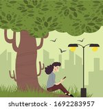lifestyle drawing relaxed woman ...   Shutterstock . vector #1692283957