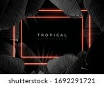 dark monochrome tropical design ... | Shutterstock .eps vector #1692291721