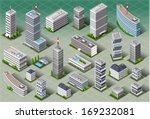 isometric building city palace...