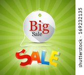 big sale tag   label on green... | Shutterstock .eps vector #169232135