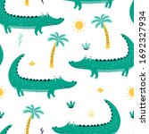 hand drawing crocodile seamless ... | Shutterstock .eps vector #1692327934