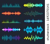 colored sound waves collection. ... | Shutterstock .eps vector #1692370141