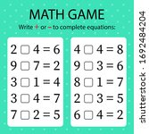 math game. write   or   in... | Shutterstock .eps vector #1692484204