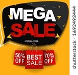 mega sale banner template. ... | Shutterstock . vector #1692493444