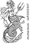 mermaid with a trident in her... | Shutterstock .eps vector #1692545347