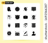 group of 16 modern solid glyphs ...