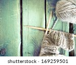 Ball Of Yarn And Knitting On A...
