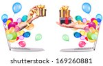 hand with a gift and balloons...   Shutterstock . vector #169260881