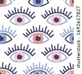 seamless pattern with evil eyes ... | Shutterstock .eps vector #1692617827