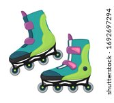 a pair of inline skates in flat ...   Shutterstock .eps vector #1692697294