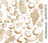 hand drawn fruits seamless... | Shutterstock .eps vector #169272971