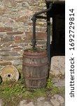 Vintage Wooden Barrel Water...