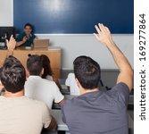 student responds in classroom | Shutterstock . vector #169277864
