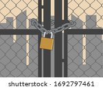 metal gate locked with a chain... | Shutterstock .eps vector #1692797461