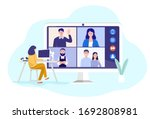 video conferencing at home ... | Shutterstock .eps vector #1692808981