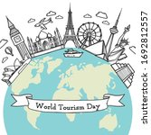 doodle travel around the world... | Shutterstock .eps vector #1692812557