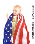 Baby and USA Flag - stock photo