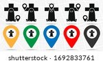 ghost over the tombstone icon... | Shutterstock .eps vector #1692833761