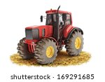 Red Generic Tractor Positioned...