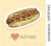 vintage fast food background....   Shutterstock .eps vector #169297661