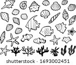 Sea Motif Hand Drawn Line...