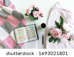 Pink Bible Flat Lay  Bouquet Of ...