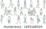 people walking outside with...   Shutterstock .eps vector #1693168324