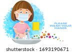 a girl child washing her hands... | Shutterstock .eps vector #1693190671