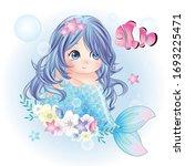 hand drawn cute mermaid...   Shutterstock .eps vector #1693225471