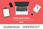 freelancer workspace  workspace ... | Shutterstock .eps vector #1693332217