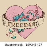 old school style tattoo heart... | Shutterstock . vector #169345427