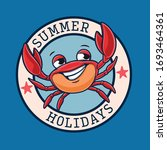 Summer Holidays Logo With Crab
