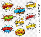Collection of nine multicolored comic sound Effects | Shutterstock vector #169347335