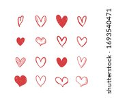 doodle hearts  hand drawn love... | Shutterstock .eps vector #1693540471