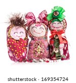 Three Handmade Rag Doll...