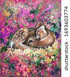 Oil Painting Of Young Deer In...