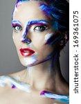 creative art makeup of a young...   Shutterstock . vector #169361075
