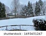 Scenic Backyard View In A Snow...