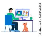 flat style design. freelancer... | Shutterstock .eps vector #1693664494